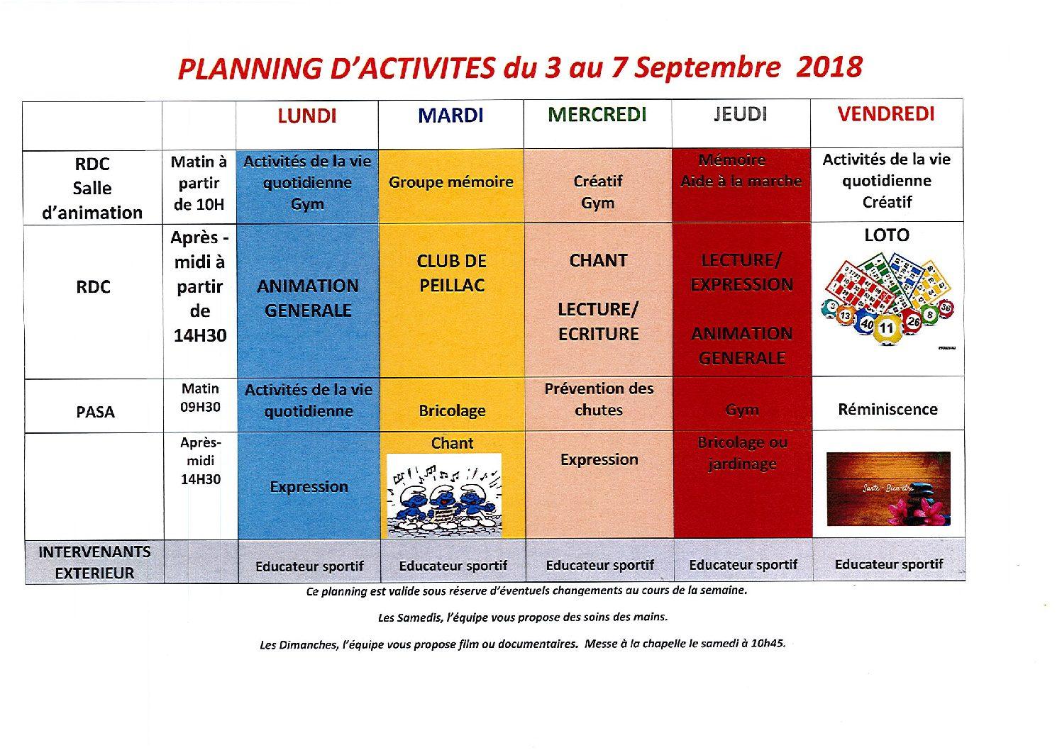 Programme des activités 3 au 7 sept. 2018